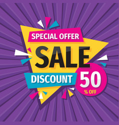 sale discount up to 50 off layout concept vector image
