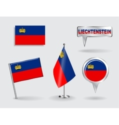 Set liechtenstein pin icon and map pointer vector
