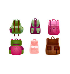 set modern outdoor backpacks different vector image