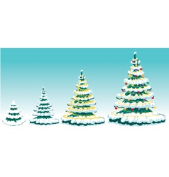 Set of fur-tree with ornaments vector