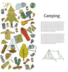 set of hand drawn sketch camping equipment symbols vector image