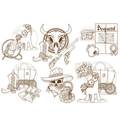 Set of of for coloring on the theme of the wild vector
