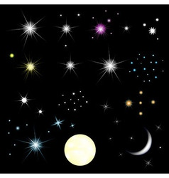 Set Of Stars And Moon vector image