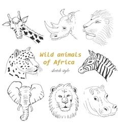 Set of wild animals of Africa in sketch style vector