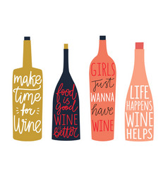 Set with bottles wine and champagne vector