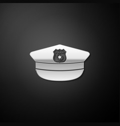 Silver police cap with cockade icon isolated on vector
