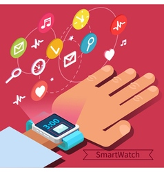 Smart Watch Technology Concept with Hand vector