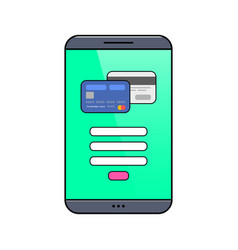 Smartphone with credit card on screen vector