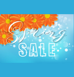 spring sale concept flowers bokeh blue and vector image