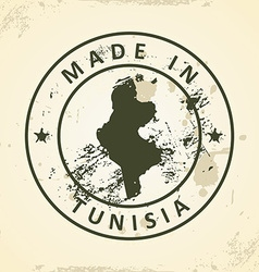 Stamp with map of Tunisia vector image