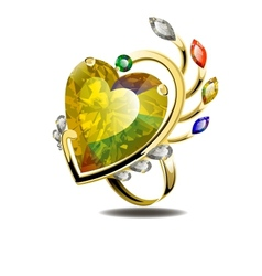 Stunning ring with heart shape diamond and gems vector