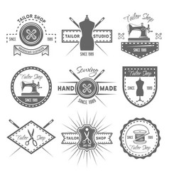 Tailor shop set of monochrome emblems vector