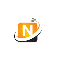 Technology motion synergy letter n vector