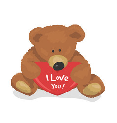 teddy bear holds heart top view i love you flat vector image