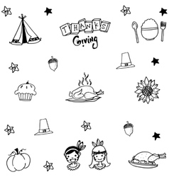 Thanksgiving doodle set with hand draw vector image