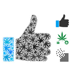 Thumb up collage of weed leaves vector