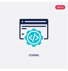 two color coding icon from digital economy vector image