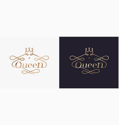 Typography luxury golden queen concept logo design vector