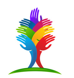 Unity abstract tree hands logo vector