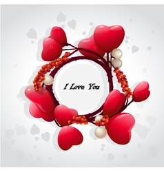 Valentines card with red hearts and pearls vector image