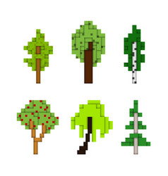 various pixel art trees isolated on white vector image