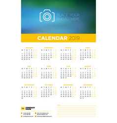 Wall calendar poster template for 2019 year week vector