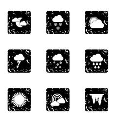 Weather forecast icons set grunge style vector