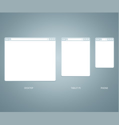 website different devices web window mobile screen vector image