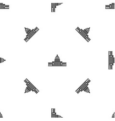 white house pattern seamless black vector image vector image