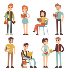 women and men reading books people readers vector image
