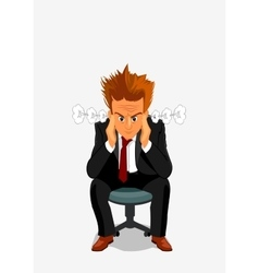 Young man exploding with anger and rage vector