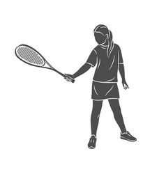 Young woman does an exercise with a racket on her vector