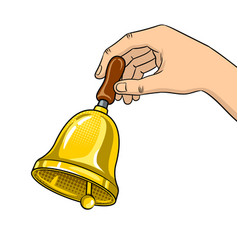 hand ring bell pop art vector image