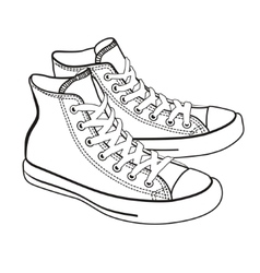 isolated cartoon sneakers lineart vector image vector image