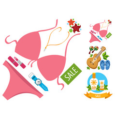 sale umbrella ladies handbag guitar swimwear vector image vector image