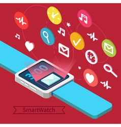 Smart Watch Technology Concept with Icons vector image