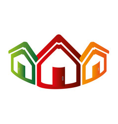 Colorful abstract set collection houses icon vector