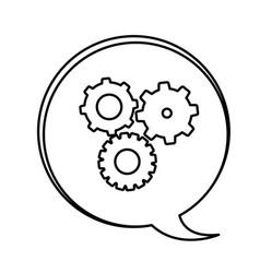 figure bubbles with gears symbol icon vector image vector image