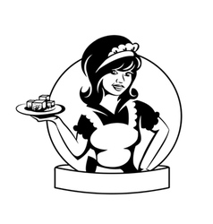 waitress with a dish vector image