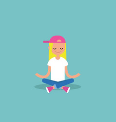 young blond girl meditating with closed eyes in vector image