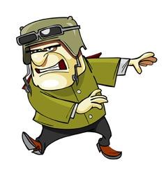 cartoon furious man in a helmet vector image
