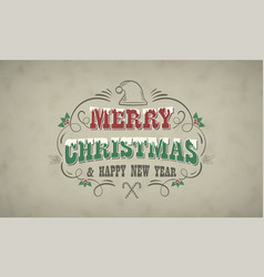 christmas and new year retro greeting card with vector image