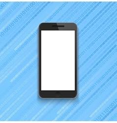 modern smartphone on binary code background vector image
