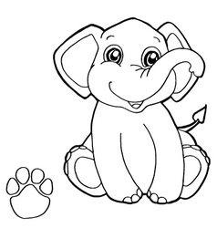 paw print with elephant Coloring Pages vector image vector image