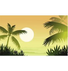 Silhouette of jungle at sunrise scenery vector