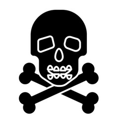 skull with bones icon black vector image