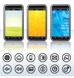 Smartphone with Contour Icons vector image