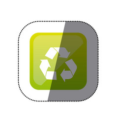 sticker color square with recycling icon vector image vector image