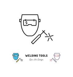 welding tools icon welding machine and welder vector image