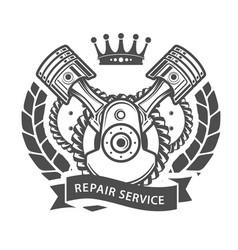 Auto repair service emblem - symbolic engine vector